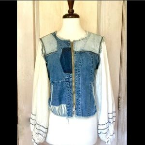 Free People Denim Jacket Patched Linen Sleeves S